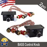 2) Universal Car Audio Amplifier Bass Boost RCA Level Remote Volume Control Knob
