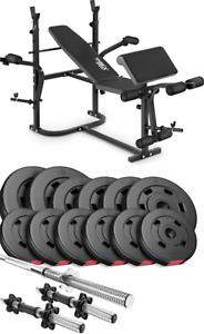 Pro Home Exercise Bench With Prayer Book + SET 38 kg  Weights Plates and Bars