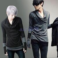 Men's Cotton Irregular Collar Slim Fit Casual Shirts T-shirts Tops Korean New