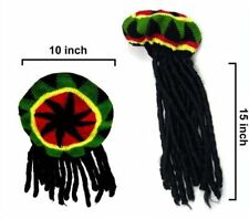 KNITTED REGGAE CAP W DREADLOCKS rasta hat jamaican hats DREAD LOCKS BLACK HAIR