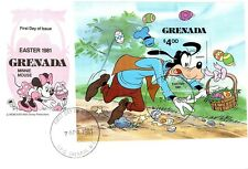 (12800) FDC Grenade Disney minisheet-Goofy Pâques 1981