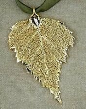 Genuine Electroplated Birch Leaf Christmas Ornament ~ GOLD ~  NEW ~ PRETTY
