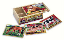 NEW MELISSA & DOUG 4 WOODEN PUZZLES IN A BOX FARM ANIMALS AGES 3 +