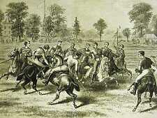 Jerome Park PLAYING POLO on the CLUB GROUNDS 1876 Original Antique Print Matted