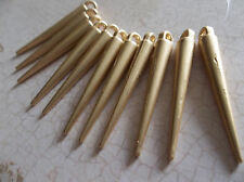 Gold Spikes - Set of Long gold Metal Spike Pendant Dangles - Qty 9