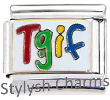 Thank God Its Friday TGIF Religious Enamel Italian Charm 9mm-1x Re096 Sngle Link