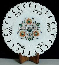 """9"""" White Marble Round Serving Plate Grill Work Christmas Table Gift Decor H4057"""