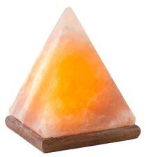 HemingWeigh Himalayan Natural Crystal Rock Salt Pyramid Lamp on Wood Base