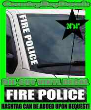 FIRE POLICE VERTICAL Pillar Windshield Vinyl Decal Sticker EMT Truck Diesel Car