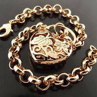BRACELET BANGLE GENUINE REAL 18K ROSE G/F GOLD SOLID PADLOCK BELCHER LINK DESIGN