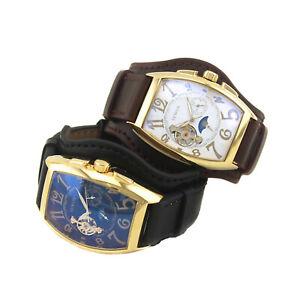 Mechanical Automatic gents Wrist watch Sewor Fashion Mens Moon Phase Tonneau 577