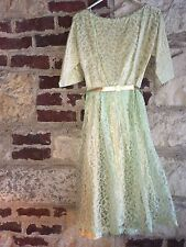 True Vintage 1950s Custom Made Boutique Lace Sm Cocktail Party Dress Rhinestone