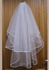 White Bridal Wedding Veil 2 Tier with Comb Handmade Elbow Length Pearl Accents