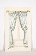 Petit pochoir déb. XX°, Rideaux Fenêtre, Tissu drapé bleu, décoration