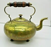 Vintage Brass 4 Footed Teapot Kettle with Wood Handle