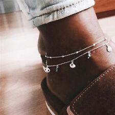 Turquoise Chain Anklet Bracelet Jewelry Elegant Women Boho Shell Silver Beads