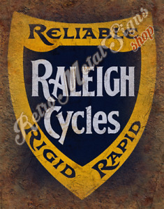 Raleigh Cycles  VINTAGE CYCLING  METAL TIN SIGN POSTER WALL PLAQUE