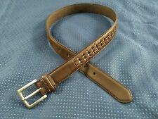 Genuine Leather  Silver Buckle  Brown Laced Design Belt  Fits Waists 26-30  NWOT