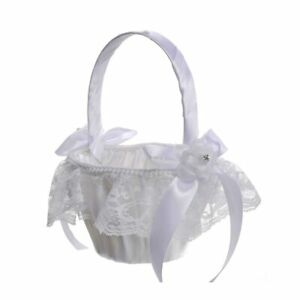 Romantic Rose Bowknot Satin Lace Wedding Ceremony Party Flower Girl Basket White