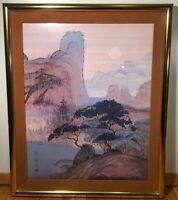 Vintage HERONIM Japanese Painting Print Professionally Framed Brass Glass SIGN