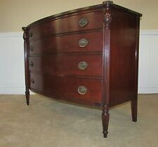 VINTAGE MORGANTON MAHOGANY BOW FRONT DRESSER, 4 DRAWER LOW CHEST