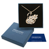 Collana donna oro Swarovski Elements originale G4Love cigno madreperla cristalli