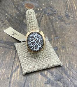 Barse Sahara Ring- Leopard Print- Bronze- 10.75-NWT