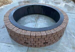 Round Fire pit 1.35m granite slab fire place garen decor patio stone modern