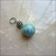 Genuine Blue LARIMAR 16MM Large Focal Ball Bead .925 St Silver Gemstone Pendant