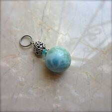 Genuine Blue LARIMAR 16MM Large Focal Ball Bead .925 St Silver Gemstone Pendant