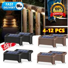 4-12X LED Solarleuchten Zaunleuchte Wandlampen Gartenleuchte Außen Treppen Lampe