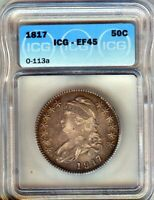1817 CAPPED BUST SILVER 50c XF/AU = ICG XF45 ORIGINAL WITH LOTS OF LUSTRE O-113a