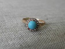 Turquoise Cabochon Cut Seed Pearl 9k Rose Gold Ring