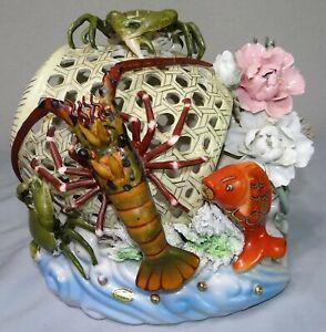 Vtg Antique Majolica CRAB & LOBSTER POT FLOWER BASKET KOI Vase Planter Figurine