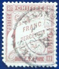 France oblitéré, taxe n°25, 1F marron type Duval, 1884