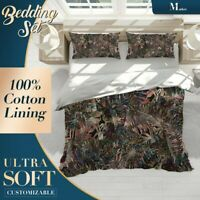 Banana Leaves Tropical Floral Brown Doona Cover Set with Zipper And Pillowcase