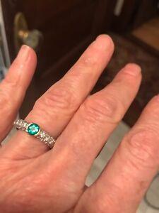 Rare Tiffany & Co. Etoile Emerald and Pave Diamond Ring in Platinum, 18K Gold.