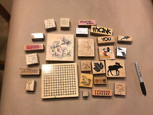 Lot 25 Wood Mounted Rubber Stamps