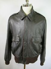 F3563 VTG A-2 Flight Military Leather Jacket Brown