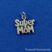 925 Sterling Silver Super Mom Charm - Supermom Mothers Day Pendant NEW