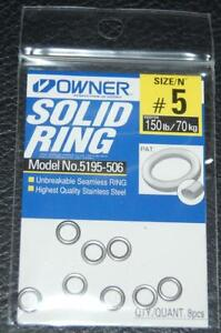 Owner 5195-506 Stainless Steel Solid Rings - Size 5 - 120lb Test Pack of 8