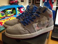 Men's NIKE AIR JORDAN RETRO 1 SZ 10.5 LS Gray Red Royal 315794-041