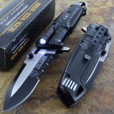 Tac-Force Speedster EMT EMS Folding Pocket Rescue Knife Serrated LED flash Light