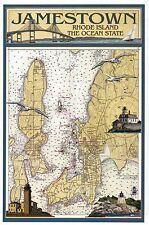 Jamestown Rhode Island Nautical Chart Lighthouses Bridge etc Modern Map Postcard