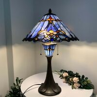 "Bieye Tiffany Style Stained Glass Baroque Table Lamp Night Light 16""W24""H Blue"