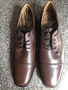 Clarks Mens Oxford Shoes TILDEN CAP Dark Tan Leather UK 9G Wide Fit. BNIB