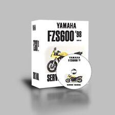 YAMAHA FZS600 FAZER WORKSHOP SERVICE REPAIR PARTS MANUAL 1998 99 2000 - 2003 CD