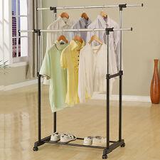 Portable Double Rail Collapsible Adjustable Clothes Rolling Garment Hanger Rack
