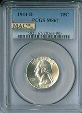1944-D Washington Quarter Pcgs Mac Ms67 Pq Finest Registry Spotless *