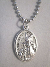 "Silver Plated Guardian Angel /  Cherub Medal Italy Necklace 24"" Ball Chain"